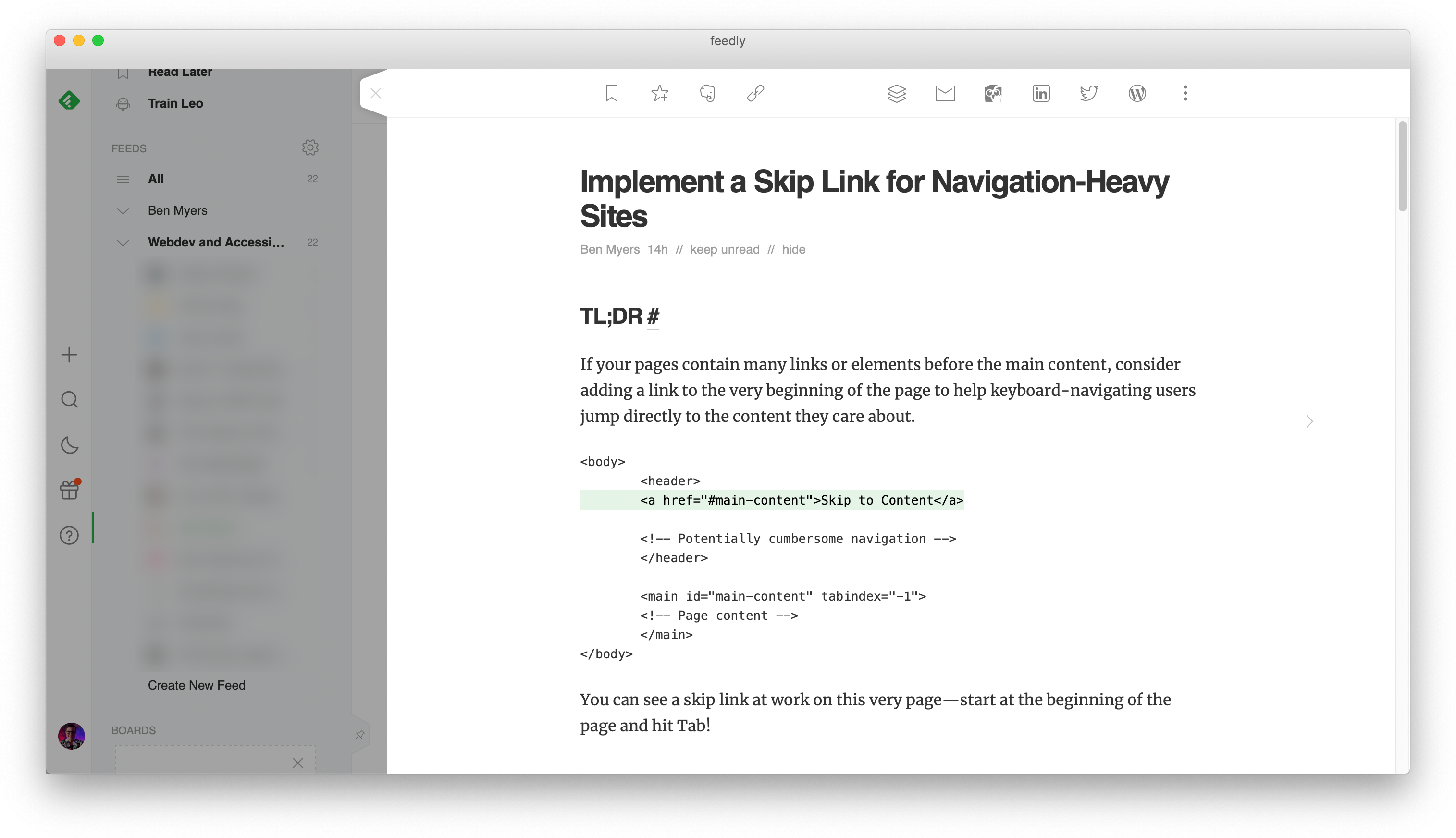 "The Feedly RSS reader, previewing the beginning of the ""Implement a Skip Link for Navigation-Heavy Sites"" blogpost. The TL;DR section has a codeblock with a snippet of HTML code. The line that contains the skip link is highlighted in faint green."